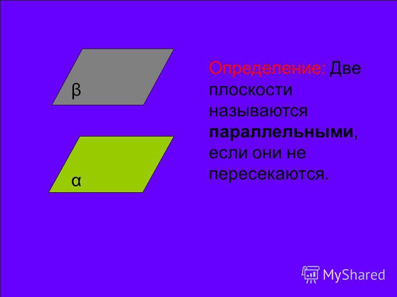 α β Определение: Две плоскости называются параллельными, если они не пересекаются.