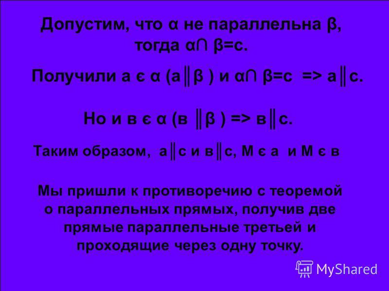 Допустим, что α не параллельна β, тогда α β=с. Получили а є α (аβ ) и α β=с => ас. Но и в є α (в β ) => вс. Таким образом, ас и вс, М є а и М є в Мы пришли к противоречию с теоремой о параллельных прямых, получив две прямые параллельные третьей и про