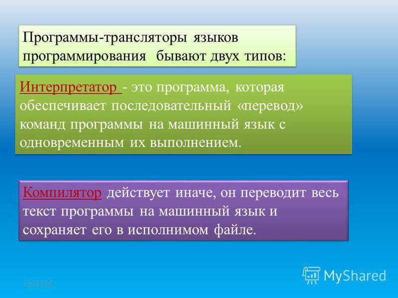 Программы-трансляторы языков программирования бывают двух типов: Интерпретатор - это программа, которая обеспечивает последовательный «перевод» команд программы на машинный язык с одновременным их выполнением. Компилятор действует иначе, он переводит