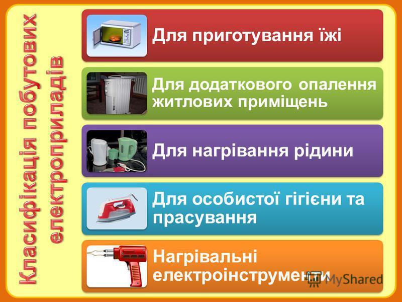 Для приготування їжі Для додаткового опалення житлових приміщень Для нагрівання рідини Для особистої гігієни та прасування Нагрівальні електроінструменти