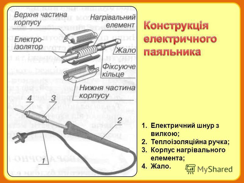 1.Електричний шнур з вилкою; 2.Теплоізоляційна ручка; 3.Корпус нагрівального елемента; 4.Жало.