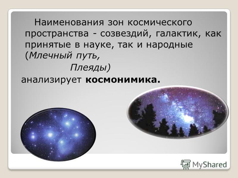 Наименования зон космического пространства - созвездий, галактик, как принятые в науке, так и народные (Млечный путь, Плеяды) анализирует космонимика.