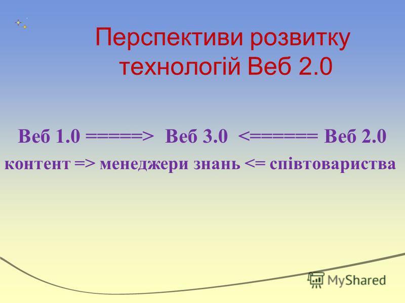 Перспективи розвитку технологій Веб 2.0 Веб 1.0 =====> Веб 3.0 <====== Веб 2.0 контент => менеджери знань <= співтовариства