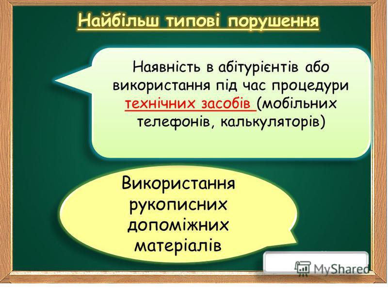 Використання рукописних допоміжних матеріалів Наявність в абітурієнтів або використання під час процедури технічних засобів (мобільних телефонів, калькуляторів)