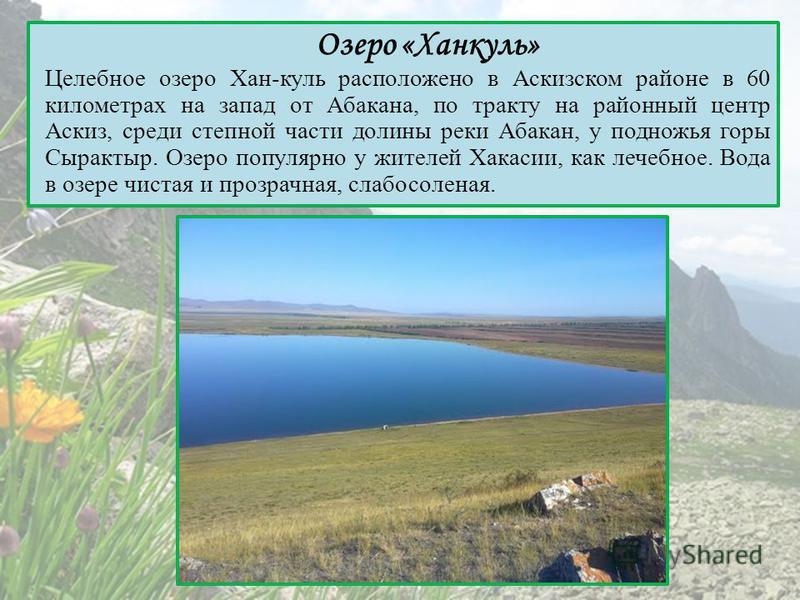 Озеро «Ханкуль» Целебное озеро Хан-куль расположено в Аскизском районе в 60 километрах на запад от Абакана, по тракту на районный центр Аскиз, среди степной части долины реки Абакан, у подножья горы Сырактыр. Озеро популярно у жителей Хакасии, как ле