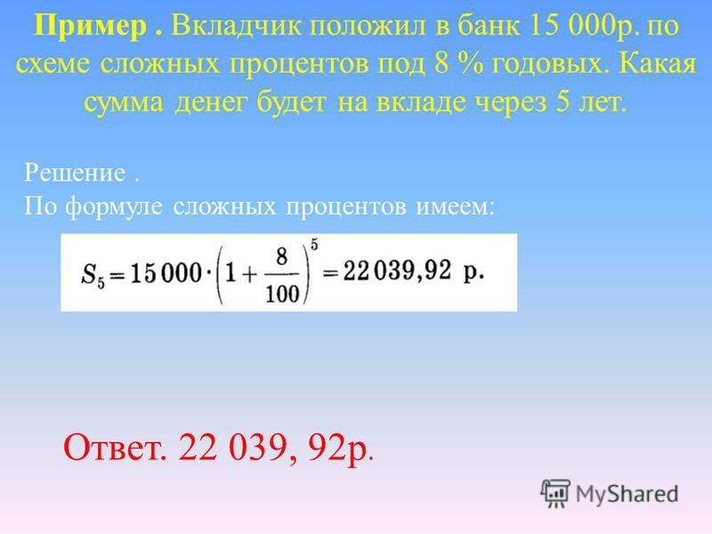 Пример. Вкладчик положил в банк 15 000 р. по схеме сложных процентов под 8 % годовых. Какая сумма денег будет на вкладе через 5 лет. Решение. По формуле сложных процентов имеем: Ответ. 22 039, 92 р.
