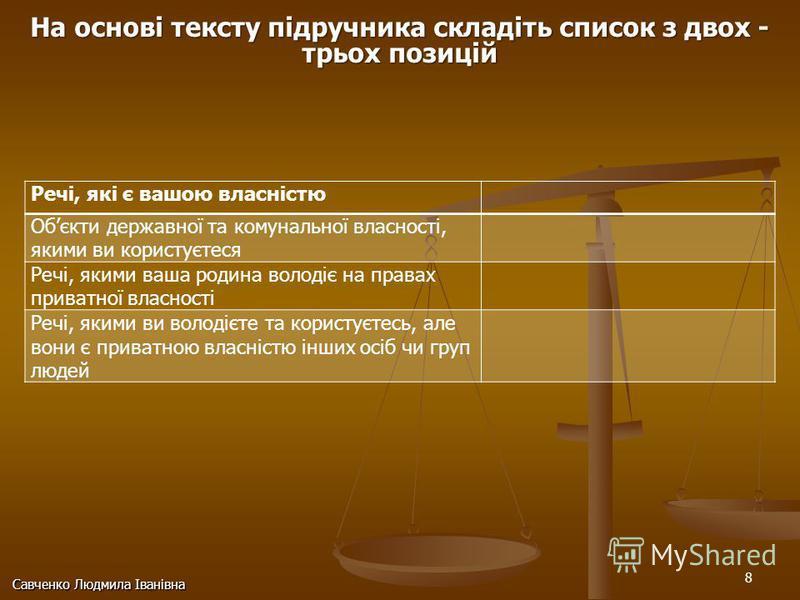 8 Савченко Людмила Іванівна Речі, які є вашою власністю Обєкти державної та комунальної власності, якими ви користуєтеся Речі, якими ваша родина володіє на правах приватної власності Речі, якими ви володієте та користуєтесь, але вони є приватною влас