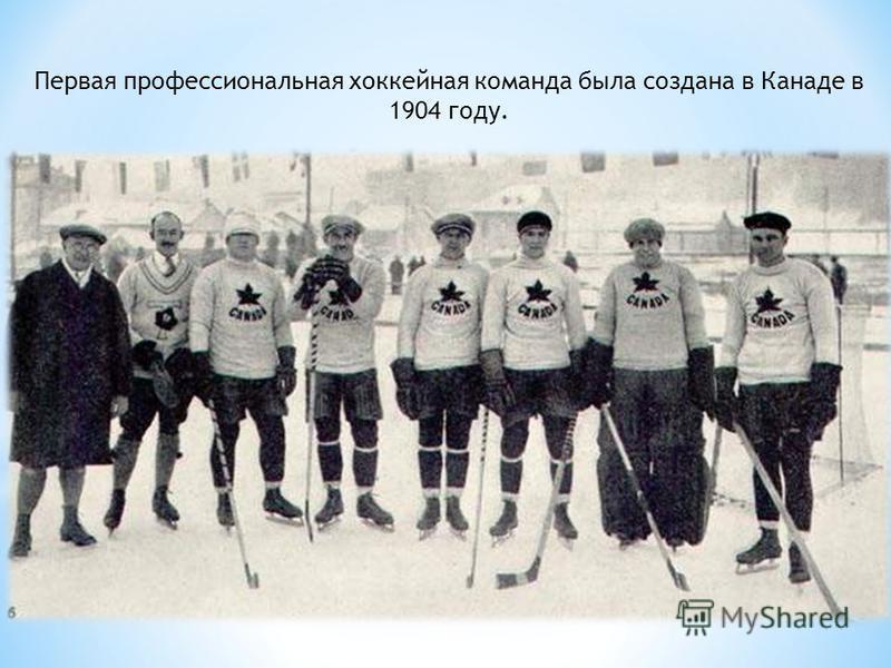 Первая профессиональная хоккейная команда была создана в Канаде в 1904 году.