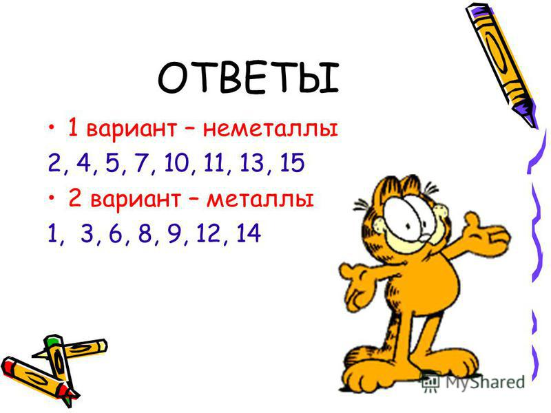 ОТВЕТЫ 1 вариант – неметаллы 2, 4, 5, 7, 10, 11, 13, 15 2 вариант – металлы 1, 3, 6, 8, 9, 12, 14