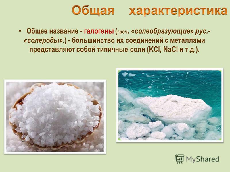 Общее название - галогены ( греч. «солеобразующие» рус.- «солероды». ) - большинство их соединений с металлами представляют собой типичные соли (KCl, NaCl и т.д.).