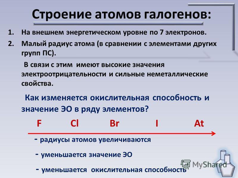 Строение атомов галогенов: 1. На внешнем энергетическом уровне по 7 электронов. 2. Малый радиус атома (в сравнении с элементами других групп ПС). В связи с этим имеют высокие значения электроотрицательности и сильные неметаллические свойства. Как изм