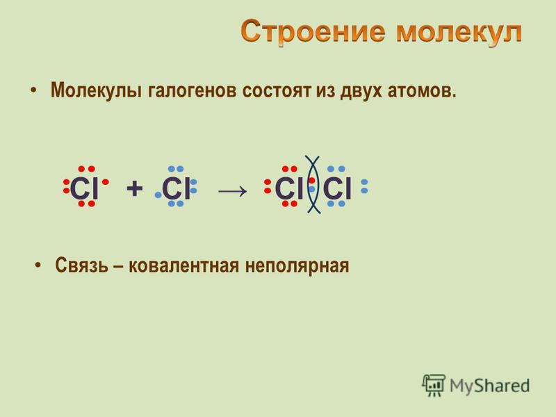 Молекулы галогенов состоят из двух атомов. Cl + Cl Cl Cl Связь – ковалентная неполярная