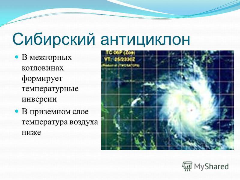 Сибирский антициклон В межгорных котловинах формирует температурные инверсии В приземном слое температура воздуха ниже