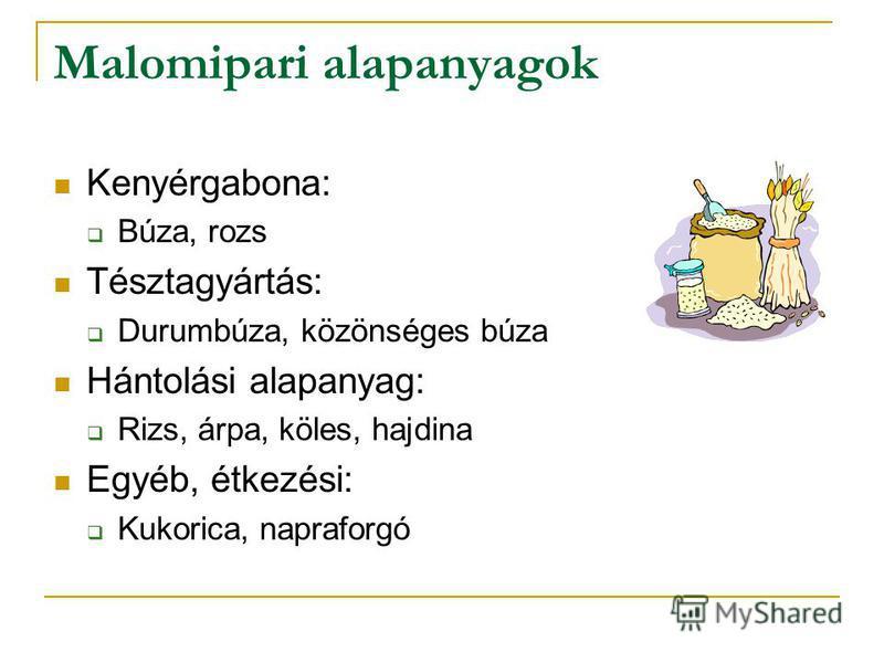 Malomipari alapanyagok Kenyérgabona: Búza, rozs Tésztagyártás: Durumbúza, közönséges búza Hántolási alapanyag: Rizs, árpa, köles, hajdina Egyéb, étkezési: Kukorica, napraforgó