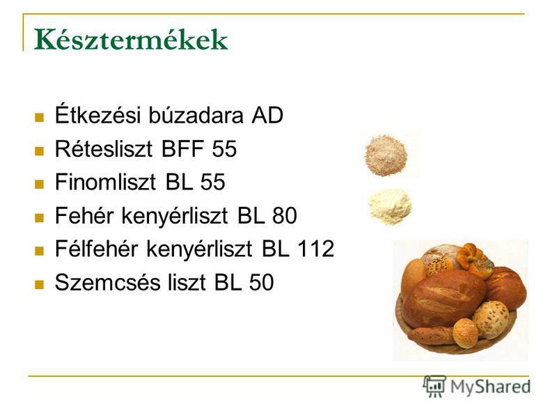 Késztermékek Étkezési búzadara AD Rétesliszt BFF 55 Finomliszt BL 55 Fehér kenyérliszt BL 80 Félfehér kenyérliszt BL 112 Szemcsés liszt BL 50