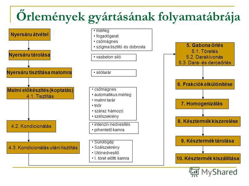 Őrlemények gyártásának folyamatábrája Nyersáru átvétel Nyersáru tárolása Nyersáru tisztítása malomra Malmi előkészítés (koptatás) 4.1. Tisztítás 4.2. Kondicionálás 4.3. Kondicionálás utáni tisztítás 5. Gabona őrlés 5.1. Töretés 5.2. Darakivonás 5.3.