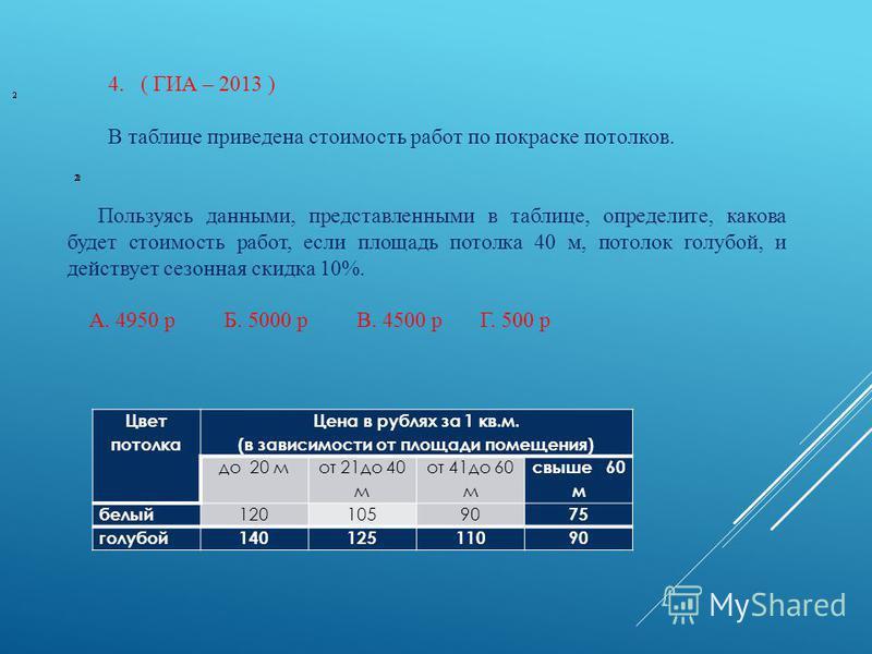 4.( ГИА – 2013 ) В таблице приведена стоимость работ по покраске потолков. Цвет потолка Цена в рублях за 1 кв.м. (в зависимости от площади помещения) до 20 м от 21 до 40 м от 41 до 60 м свыше 60 м белый 12010590 75 голубой 14012511090 Пользуясь данны