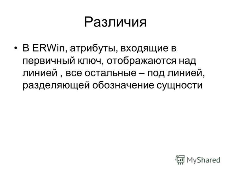 Различия В ERWin, атрибуты, входящие в первичный ключ, отображаются над линией, все остальные – под линией, разделяющей обозначение сущности