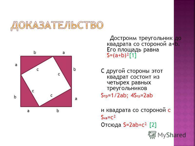 Достроим треугольник до квадрата со стороной a+b. Его площадь равна S=(a+b)²[1] С другой стороны этот квадрат состоит из четырех равных треугольников S тр =1/2ab; 4S тр =2ab и квадрата со стороной с S кв =с² Отсюда S=2ab+c² [2] a b c a b c c c a a b