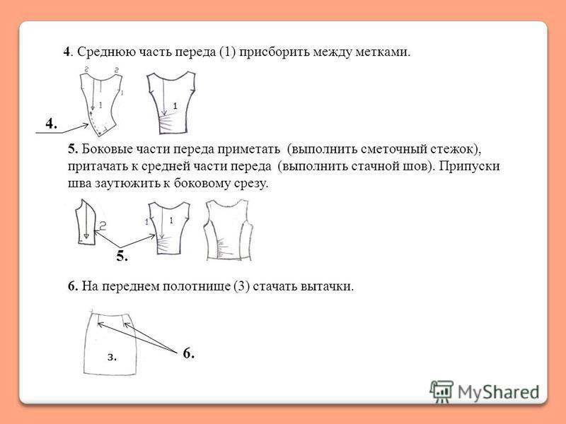 4. Среднюю часть переда (1) присборить между метками. 5. Боковые части переда приметать (выполнить сметочный стежок), притачать к средней части переда (выполнить стачной шов). Припуски шва заутюжить к боковому срезу. 1 1 4. 5. 6. На переднем полотнищ