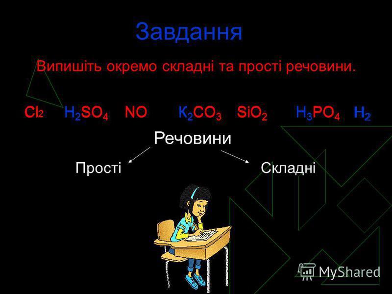 Завдання Випишіть окремо складні та прості речовини. Cl 2 H 2 SO 4 NOК 2 CO 3 SiO 2 H 3 PO 4 Cl 2 H 2 SO 4 NOК 2 CO 3 SiO 2 H 3 PO 4 Речовини Прості H2H2 H2H2 Складні