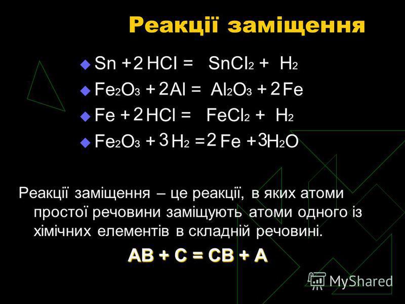 Реакції заміщення Реакції заміщення – це реакції, в яких атоми простої речовини заміщують атоми одного із хімічних елементів в складній речовині. АВ + С = СВ + А Sn + HCI = SnCI 2 + H 2 Fe 2 O 3 + Al = Al 2 O 3 + Fe Fe + HCl = FeCl 2 + H 2 Fe 2 O 3 +