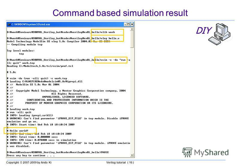 Copyright © 2007-2009 by Ando KiVerilog tutorial ( 16 ) Command based simulation result DIY