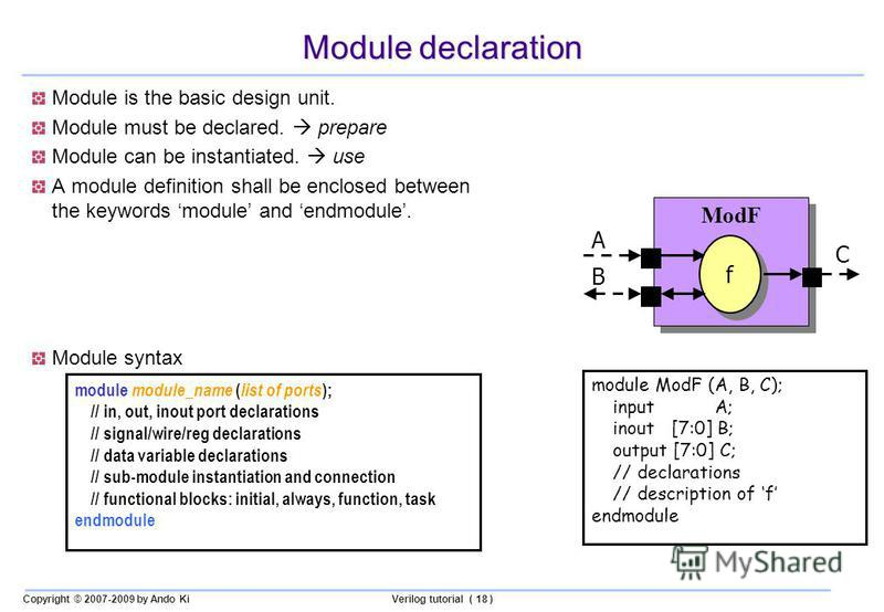 Copyright © 2007-2009 by Ando KiVerilog tutorial ( 18 ) Module declaration Module is the basic design unit. Module must be declared. prepare Module can be instantiated. use A module definition shall be enclosed between the keywords module and endmodu