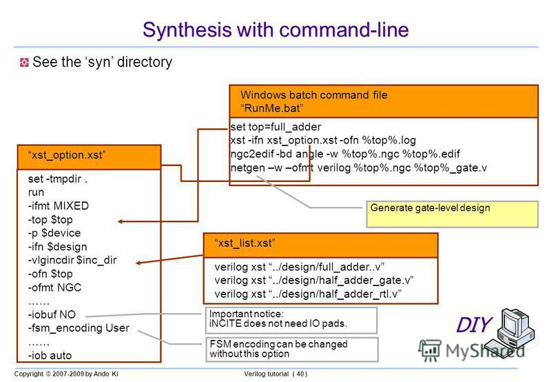 Copyright © 2007-2009 by Ando KiVerilog tutorial ( 40 ) Synthesis with command-line See the syn directory set top=full_adder xst -ifn xst_option.xst -ofn %top%.log ngc2edif -bd angle -w %top%.ngc %top%.edif netgen –w –ofmt verilog %top%.ngc %top%_gat