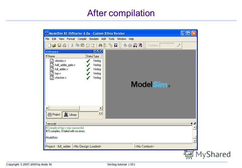 Copyright © 2007-2009 by Ando KiVerilog tutorial ( 50 ) After compilation