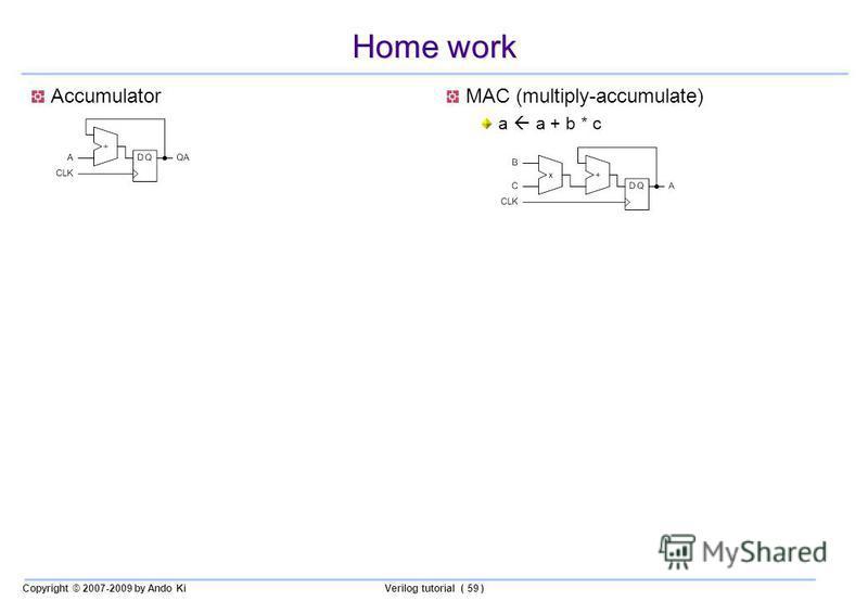 Copyright © 2007-2009 by Ando KiVerilog tutorial ( 59 ) Home work AccumulatorMAC (multiply-accumulate) a a + b * c
