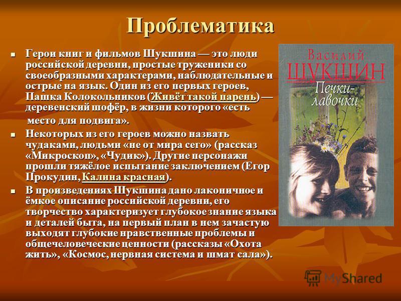 Проблематика Герои книг и фильмов Шукшина это люди российской деревни, простые труженики со своеобразными характерами, наблюдательные и острые на язык. Один из его первых героев, Пашка Колокольников (Живёт такой парень) деревенский шофёр, в жизни кот