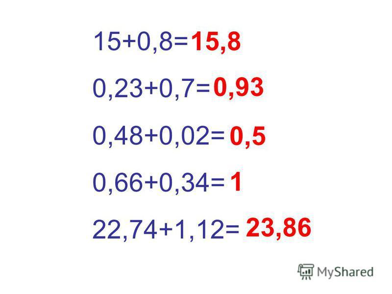 15+0,8= 0,23+0,7= 0,48+0,02= 0,66+0,34= 22,74+1,12= 15,8 0,93 0,5 1 23,86