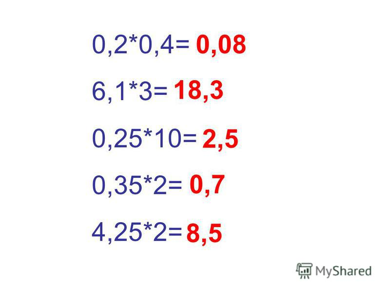 0,2*0,4= 6,1*3= 0,25*10= 0,35*2= 4,25*2= 0,08 18,3 2,5 0,7 8,5