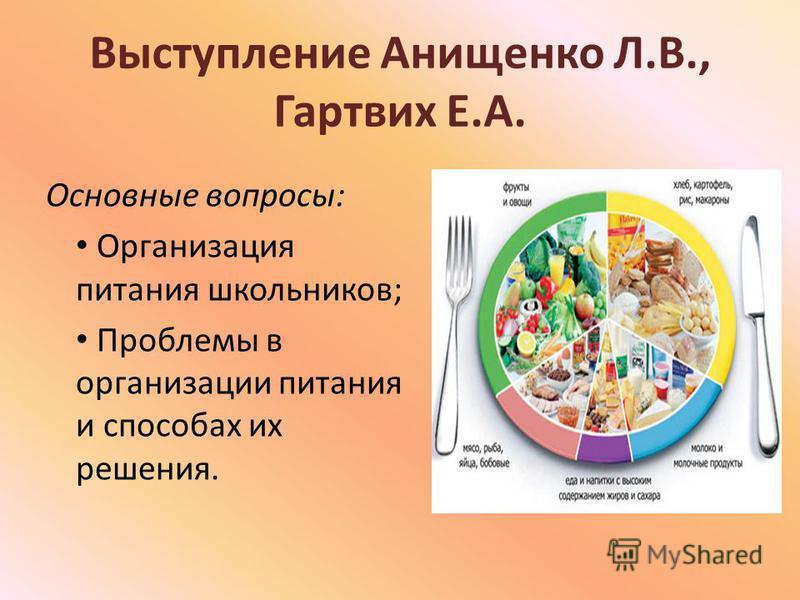 Выступление Анищенко Л.В., Гартвих Е.А. Основные вопросы: Организация питания школьников; Проблемы в организации питания и способах их решения.
