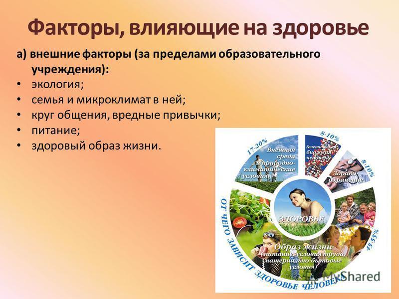 а) внешние факторы (за пределами образовательного учреждения): экология; семья и микроклимат в ней; круг общения, вредные привычки; питание; здоровый образ жизни.