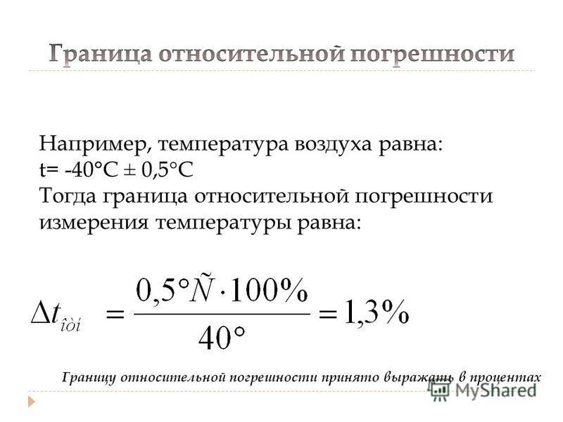 Например, температура воздуха равна: t= -40°C ± 0,5°С Тогда граница относительной погрешности измерения температуры равна: Границу относительной погрешности принято выражать в процентах