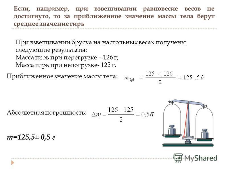 При взвешивании бруска на настольных весах получены следующие результаты: Масса гирь при перегрузке – 126 г; Масса гирь при недогрузке- 125 г. Приближенное значение массы тела: Абсолютная погрешность: m=125,5± 0,5 г