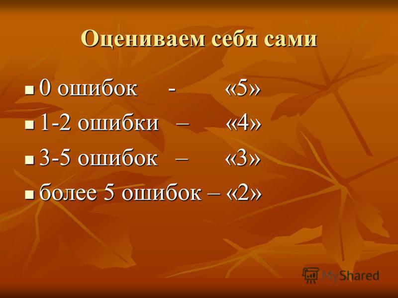 Оцениваем себя сами 0 ошибок - «5» 0 ошибок - «5» 1-2 ошибки – «4» 1-2 ошибки – «4» 3-5 ошибок – «3» 3-5 ошибок – «3» более 5 ошибок – «2» более 5 ошибок – «2»