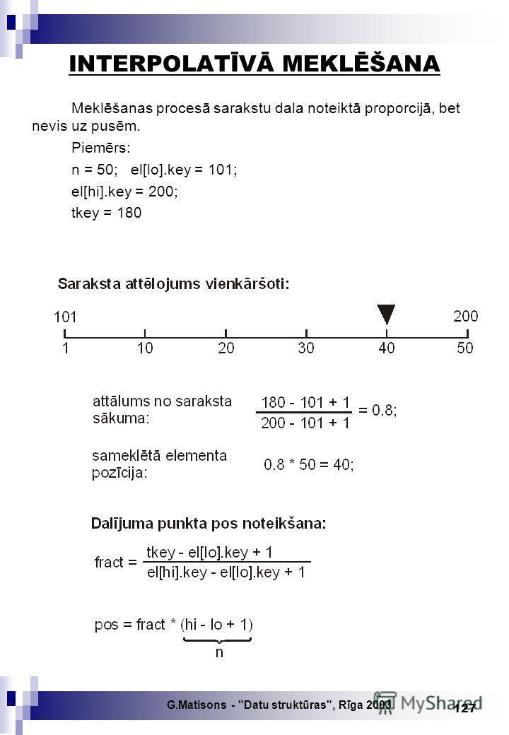 G.Matisons - Datu struktūras, Rīga 2003 127 INTERPOLATĪVĀ MEKLĒŠANA Meklēšanas procesā sarakstu dala noteiktā proporcijā, bet nevis uz pusēm. Piemērs: n = 50; el[lo].key = 101; el[hi].key = 200; tkey = 180