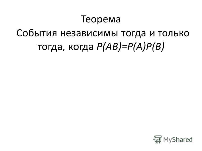 Теорема События независимы тогда и только тогда, когда Р(АВ)=Р(А)Р(В)
