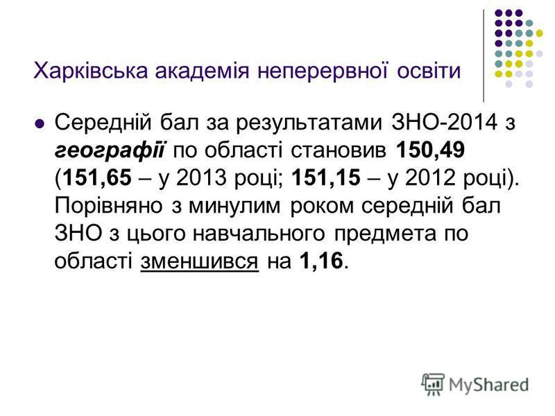 Харківська академія неперервної освіти Середній бал за результатами ЗНО-2014 з географії по області становив 150,49 (151,65 – у 2013 році; 151,15 – у 2012 році). Порівняно з минулим роком середній бал ЗНО з цього навчального предмета по області зменш