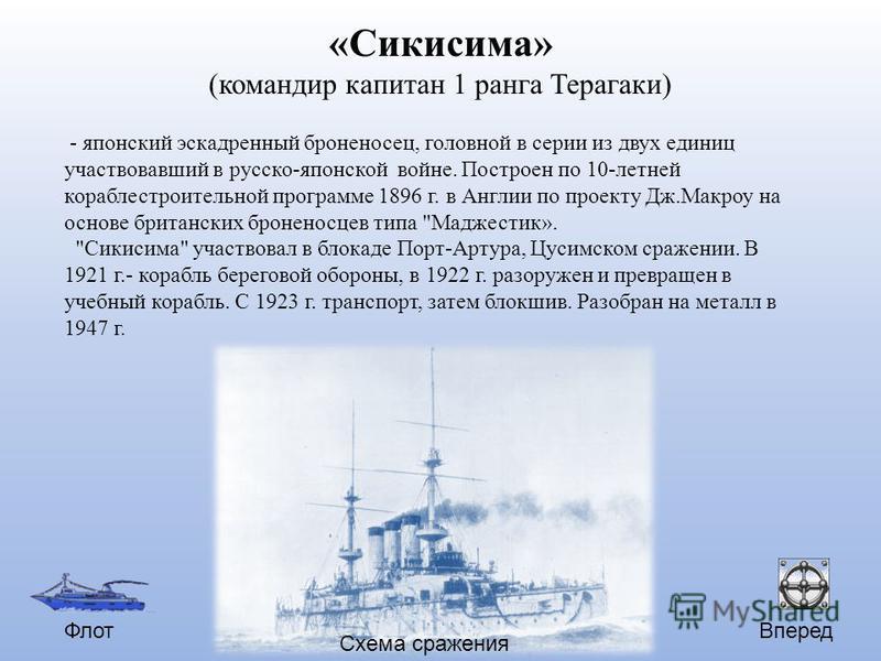 Вперед Схема сражения Флот «Сикисима» (командир капитан 1 ранга Терагаки) - японский эскадренный броненосец, головной в серии из двух единиц участвовавший в русско-японской войне. Построен по 10-летней кораблестроительной программе 1896 г. в Англии п