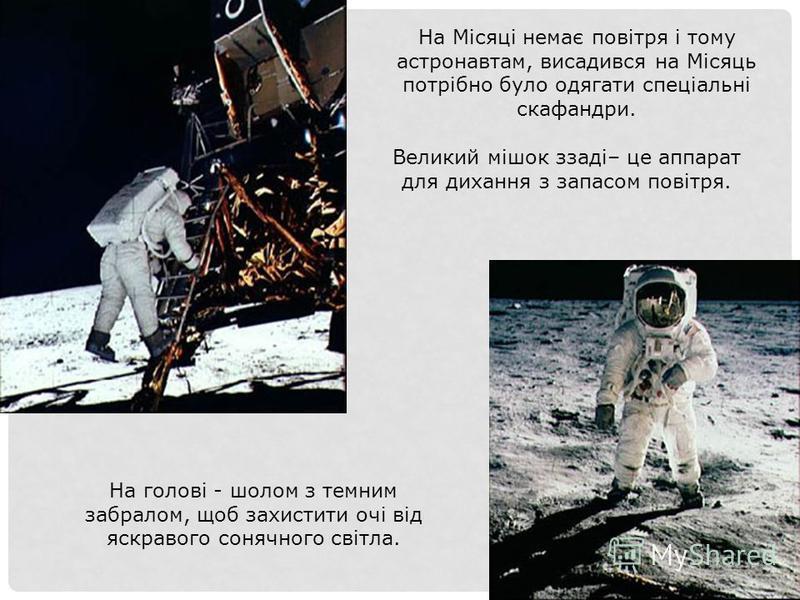 На Місяці немає повітря і тому астронавтам, висадився на Місяць потрібно було одягати спеціальні скафандри. Великий мішок ззаді– це аппарат для дихання з запасом повітря. На голові - шолом з темним забралом, щоб захистити очі від яскравого сонячного