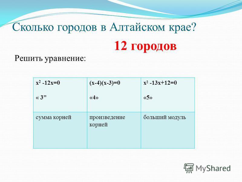 Сколько городов в Алтайском крае? Решить уравнение: х 2 -12 х=0 « 3 (х-4)(х-3)=0 «4» х 2 -13 х+12=0 «5» сумма корней произведение корней больший модуль 12 городов