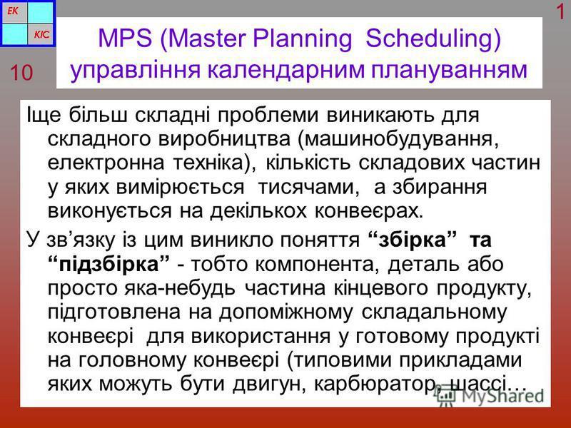 MPS (Master Planning Scheduling) управління календарним плануванням Іще більш складні проблеми виникають для складного виробництва (машинобудування, електронна техніка), кількість складових частин у яких вимірюється тисячами, а збирання виконується н