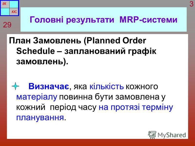 Головні результати MRP-системи План Замовлень (Planned Order Schedule – запланований графік замовлень). Визначає, яка кількість кожного матеріалу повинна бути замовлена у кожний період часу на протязі терміну планування. 29 3