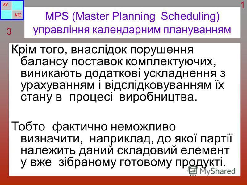 MPS (Master Planning Scheduling) управління календарним плануванням Крім того, внаслідок порушення балансу поставок комплектуючих, виникають додаткові ускладнення з урахуванням і відслідковуванням їх стану в процесі виробництва. Тобто фактично неможл