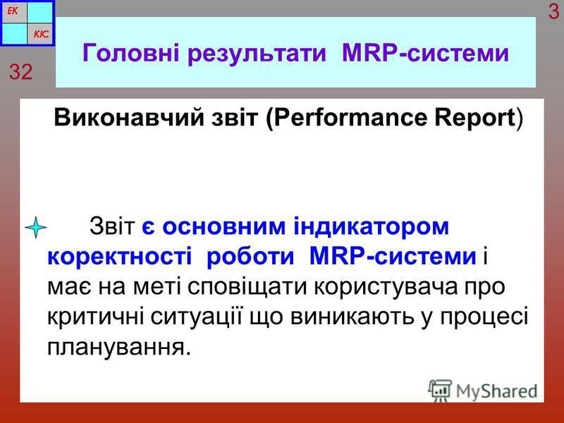 Головні результати MRP-системи Виконавчий звіт (Performance Report) Звіт є основним індикатором коректності роботи MRP-системи і має на меті сповіщати користувача про критичні ситуації що виникають у процесі планування. 32 3