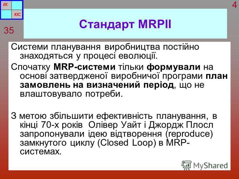 Стандарт MRPІІ Системи планування виробництва постійно знаходяться у процесі еволюції. Спочатку MRP-системи тільки формували на основі затвердженої виробничої програми план замовлень на визначений період, що не влаштовувало потреби. З метою збільшити